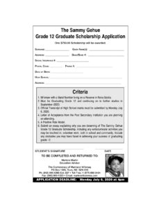 Sammy Gehue Grade 12 Graduae Scholarship Application